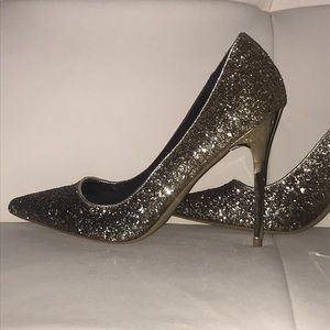 Black and gold sequin ombre glam heels by Shi